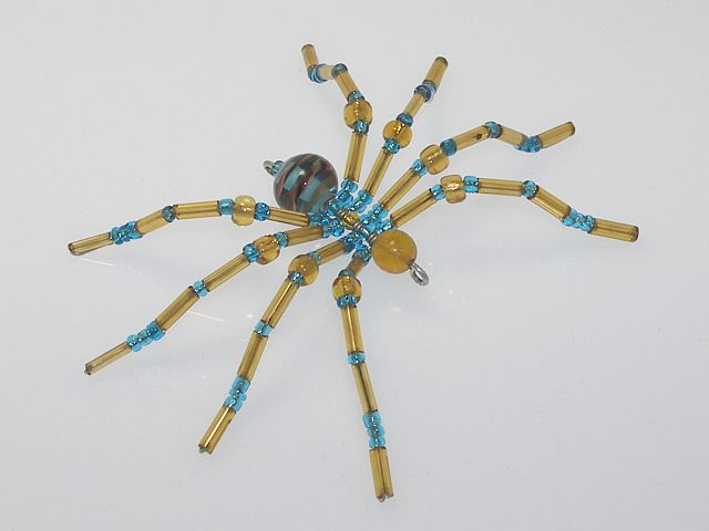 Small 'Gold & Blue' Style Christmas Spider Ornament