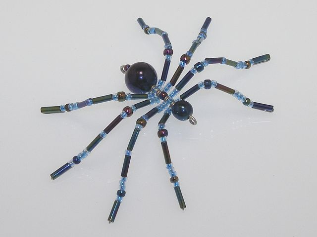 Small 'Blue Chrome' Style Christmas Spider Ornament